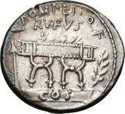 Denarius (Pompeia: Quintus Pompeius Rufus; Q•POMPEI•Q•F RVFVS COS / SVLLA•COS Q•POMPEI•RVF) – obverse
