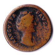 Sestertius - Faustina I (posthumous, DIVA AVGVSTA FAVSTINA / AETERNITAS, Aeternitas standing left) – obverse