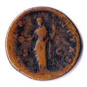 Sestertius - Faustina I (posthumous, DIVA AVGVSTA FAVSTINA / AETERNITAS, Aeternitas standing left) – reverse