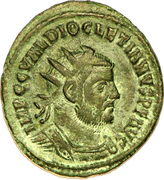 Radiate - Diocletianus (CONCORDIA MILITVM, cuirassed and undraped bust, light version, Cyzicus mint) – obverse