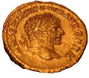 Denarius - Caracalla (PM TR P XVIII COS IIII P P; Aesculape) – obverse