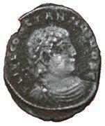 Nummus - Constantius II (GLORIA EXERCITVS; Thessalonica) – obverse