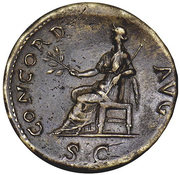 Sestertius - Galba (CONCORD AVG S C; Concordia) -  obverse