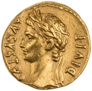Aureus - Augustus (IMP XII) -  obverse