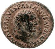 As - Vespasian (IMP V P P COS II DESIG III FORT RED S C; Fortuna) -  obverse