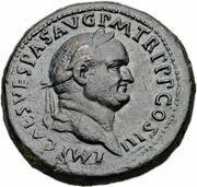Sestertius - Vespasian (PAX AVGVSTI S C; Pax and Minerva) -  obverse