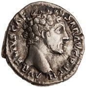 Denarius - Marcus Aurelius (TR POT VII COS II; Genius) -  obverse