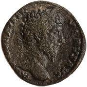 Sestertius - Lucius Verus and Marcus Aurelius (CONCORD AVGVSTOR TR P II COS II S C) -  obverse