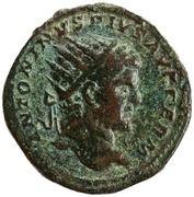Dupondius - Caracalla (P M TR P XVII IMP III COS IIII P P S C; Mars and Victory) -  obverse