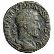 Sestertius - Maximinus Thrax (MARTI PACIFERO S C; Mars) -  obverse