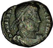 Nummus - Valentinianus I (GLORIA ROMANORVM; Thessalonica mint) -  obverse