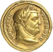 Aureus - Contantius I (HERCVLI CONSER AVGG ET CAESS NN; Strike as Caesar under Maximianus Herculius; Treveri) – obverse