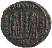 Follis - Constantinus II (GLORIA EXERCITVS; Two standards; Treveri) – reverse