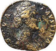 Sestertius - Faustina I (DIVA FAVSTINA / AVGVSTA, Vesta with palladium and sceptre) – obverse