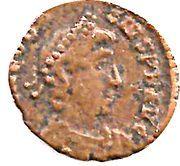 Nummus - Theodosius I (SALVS REI-PVBLICAE; Nicomedia) – obverse