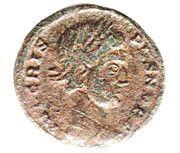 Nummus - Crispus (CAESARUM NOSTRORVM VOT V) – obverse