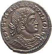 Follis - Constantinus II (GLORIA EXERCITVS; Two standards; Lugdunum) – obverse