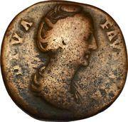 Sestertius - Faustina I DIVA FAVSTINA / CONSECRATIO, Vesta with – obverse