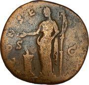 Sestertius - Faustina I DIVA FAVSTINA / CONSECRATIO, Vesta with – reverse