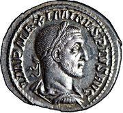 """Denier Maximin Ier (le Thrace) """"Imperator Maximinus Pius Augustus"""" – obverse"""