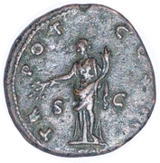 As - Antoninus Pius (TR POT COS II; Pax) -  reverse