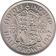 ½ Crown - George VI (2nd type; with 'IND:IMP') -  reverse
