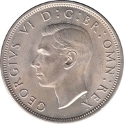½ Crown - George VI (2nd type; with 'IND:IMP') -  obverse