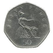 50 Pence - Elizabeth II (3rd portrait; small type) -  reverse