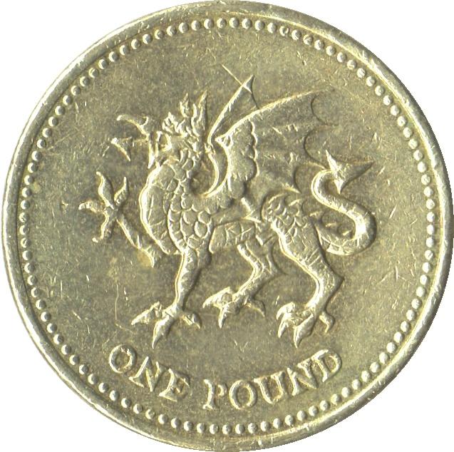1 Pound Elizabeth Ii 4th Portrait Welsh Dragon