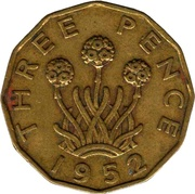 3 Pence - George VI (without 'IND:IMP') -  reverse