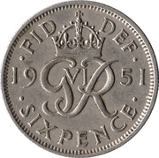 6 Pence - George VI (without 'IND:IMP') -  reverse