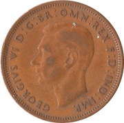 ½ Penny - George VI (with 'IND:IMP') -  obverse