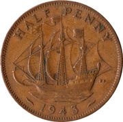 ½ Penny - George VI (with 'IND:IMP') -  reverse