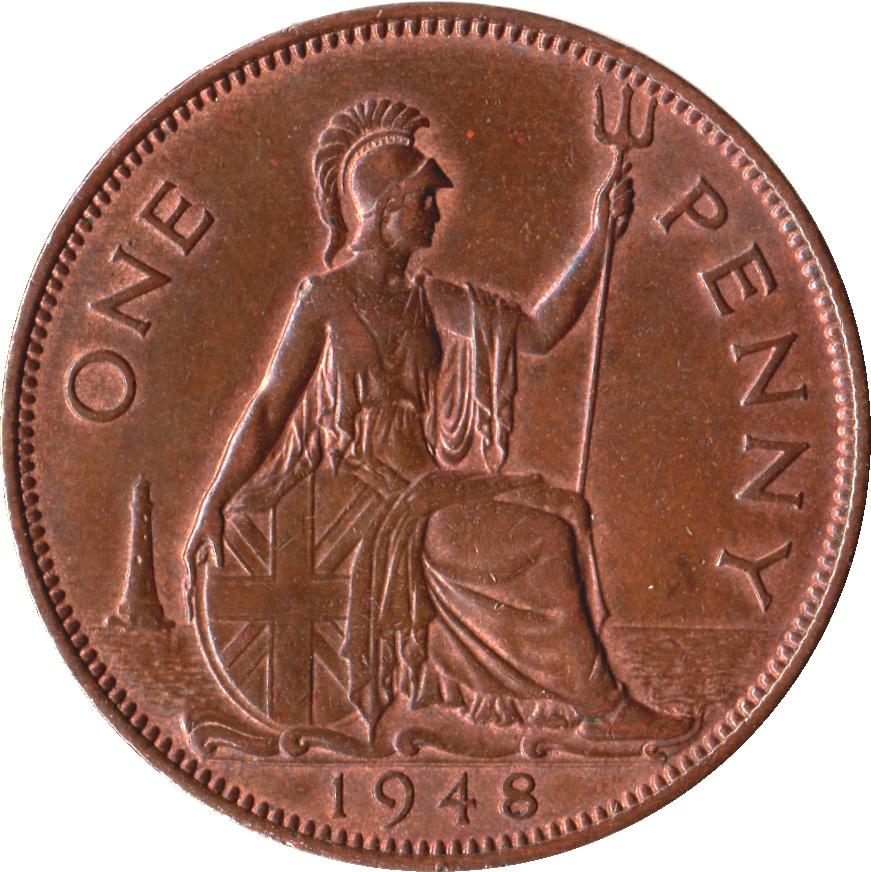 1937 One Penny Georgivs Vi Value