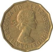 3 Pence - Elizabeth II (1st portrait; without 'BRITT:OMN') -  obverse