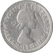 "1 Shilling - Elizabeth II (English shield; no ""BRITT:OMN"") -  obverse"