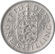 "1 Shilling - Elizabeth II (English shield; no ""BRITT:OMN"") -  reverse"