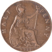 ½ Penny - George V -  reverse