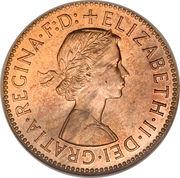 ½ Penny - Elizabeth II (1st portrait; without 'BRITT:OMN') -  obverse