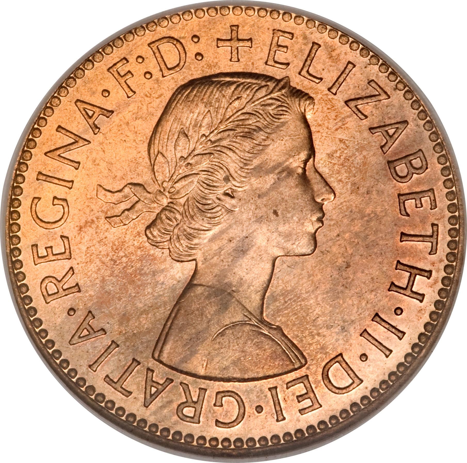 ½ Penny - Elizabeth II (1st portrait