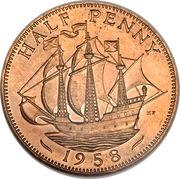 ½ Penny - Elizabeth II (1st portrait; without 'BRITT:OMN') -  reverse