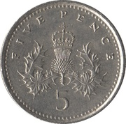 5 Pence - Elizabeth II (3rd portrait; small type) -  reverse
