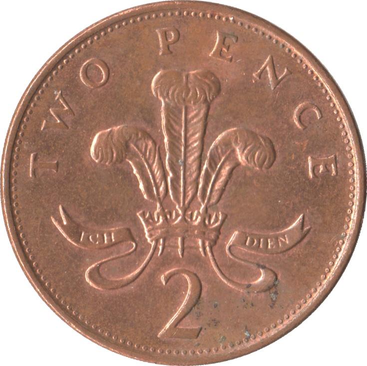 2 Pence - Elizabeth II (4th portrait; Royal Shield