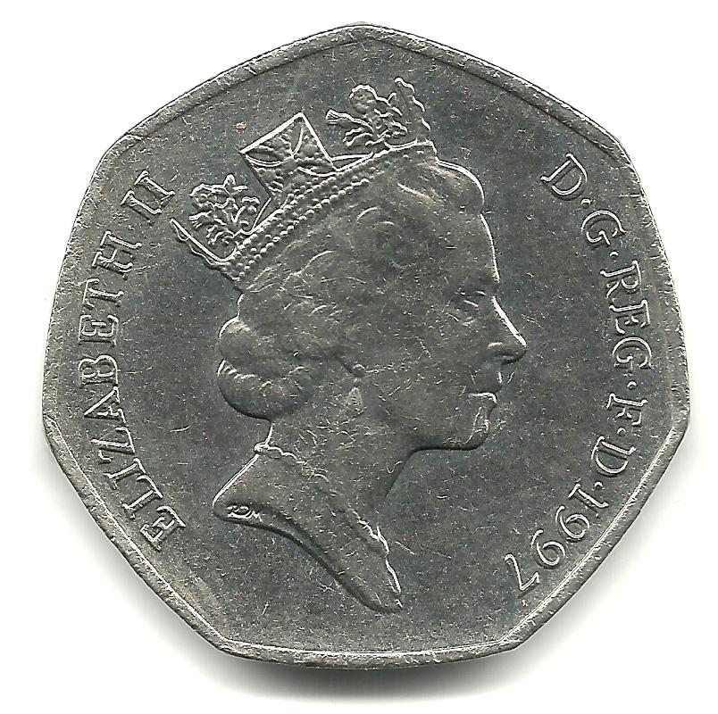 50 Pence Elizabeth Ii 3rd Portrait Small Type
