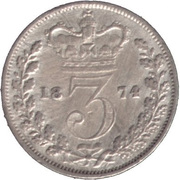 3 Pence - Victoria (1st portrait; incl. Maundy and Colonial) -  reverse