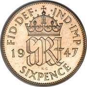 6 Pence - George VI (2nd coinage; with 'IND:IMP') -  reverse