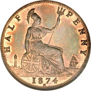 ½ Penny - Victoria (2nd portrait) -  reverse