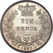 6 Pence - Victoria (1st portrait; 2nd type) -  reverse