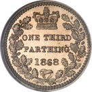 ⅓ Farthing - Victoria (2nd portrait; Colonial issues) – reverse