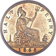 ½ Penny - Victoria (2nd portrait) – reverse